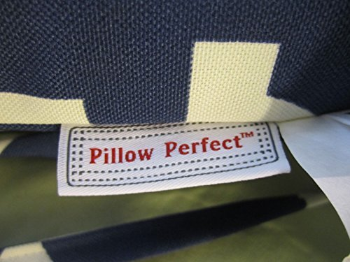 Pillow Perfect Indoor/Outdoor Carmody Squared Seat Cushion, Navy, Set of 2 by Pillow Perfect