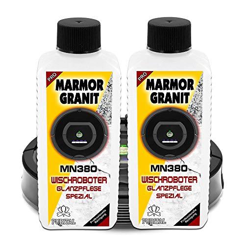 GREEN24 Doppelpack MN380 Marmor + Granit Glanz Reiniger für Wischroboter, Nasswisch-Roboter, Reinigungsroboter und Bodenwischroboter - Reinigungsmittel und Pflegemittel (2 x 250 ml Doppelpack)