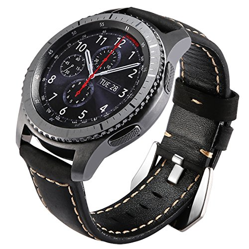Gear S3 Bands Leather, Maxjoy S3 Frontier Classic Watch Band, Galaxy Watch 46mm Bands 22mm Leather Strap Replacement Wristband with Stainless Steel Buckle Clasp for Samsung Gear S3 Smart Watch, Black