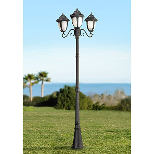 Casa Sorrento Black Finish 90 1/2'H 3-Light Post Light