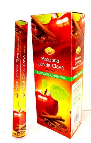 Incienso Manzana - Canela- clavo ( 3 en uno) 6 paquetes de 20 varillas/u, un total de varillas para...