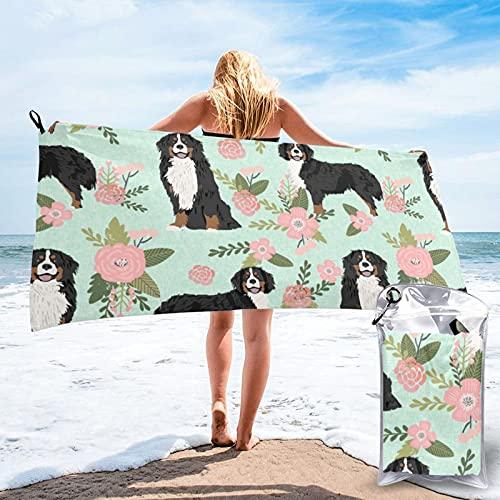 Dyfcnaiehrgrf Toalla de baño de perro Bernese de secado rápido, toalla de playa superabsorbente, toalla de playa de terciopelo de fibra superfina (27.5 x 55 pulgadas)