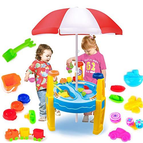 Educatief Speelgoed Zand Water Tafels Met Parasols Multifunctionele Spelen Zand in Het Water Spelen, Kinderen Zwembad 2 in 1 Strand Speelgoed