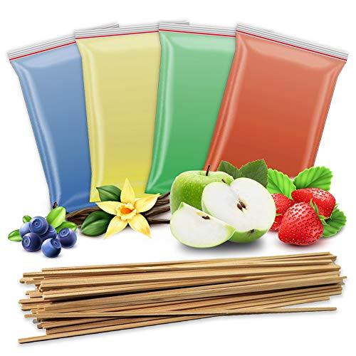 4x 200g Aromazucker + 50 Zuckerwattestäbe | Vanille – Apfel - Erdbeere - Blaubeere | 4 Sorten Zucker mit Geschmack für Bunte Zuckerwatte / Zuckerwattemaschine | 800 Gramm gesamt