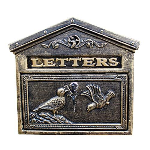 HF Mail Parcel Box Retro Outdoor brievenbus, Boerderij Binnenplaats Tuin Opknoping Lock Letter Box,Ancient Carving Patroon, Roestvrij en Weerbestendig