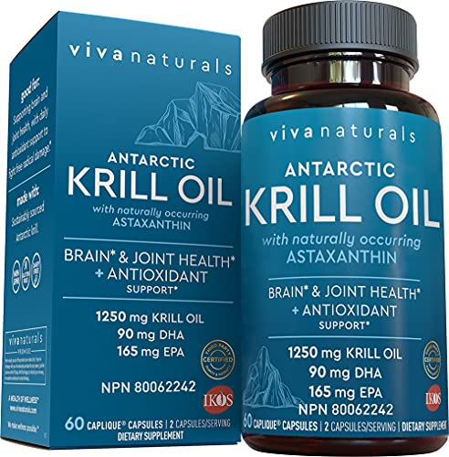 Krill Oil Supplement 1250mg - Antarctic Krill Oil Omega 3 Providing Astaxanthin, DHA and EPA, Joint Support and Brain Supplement with No Fishy Aftertaste (60 Capsules)