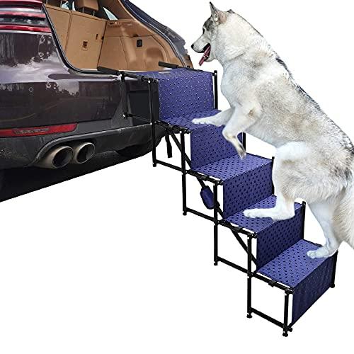 5 Pasos Gran Perrito Rampa Liviana Plegable Perro Escalera Telescópica Rampa para La Bota De Automóviles Y Los SUV, Pasos para Perros Medianos Y Grandes,con Superficie Impermeable,Armada