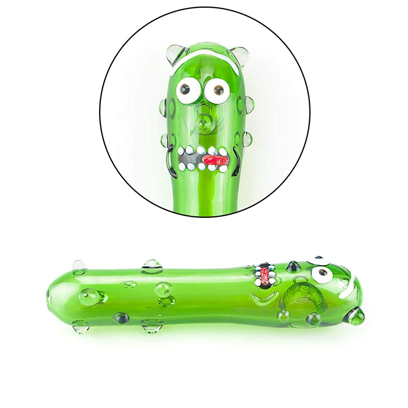 WRT Handmade 4.3 Inch Green Cucumber Long Pipe, Portable Art Collection Unbreakable Tube