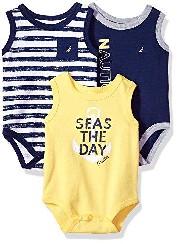 Nautica Baby Boys 3 Packs Bodysuits, Navy/Yellow, 0-3 Months