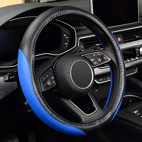 LABBYWAY Microfiber Leather Auto Car Steering Wheel Cover,Universal Fit 15 Inch Anti-Slip Wheel Protector (Blue)