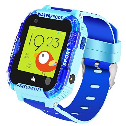 4G IP67 - Reloj inteligente impermeable para niños, con rastreador de localización GPS antipérdida, llamada de vídeo, llamada, SOS, chat de voz, podómetro, reloj infantil para niñas o niños (azul)