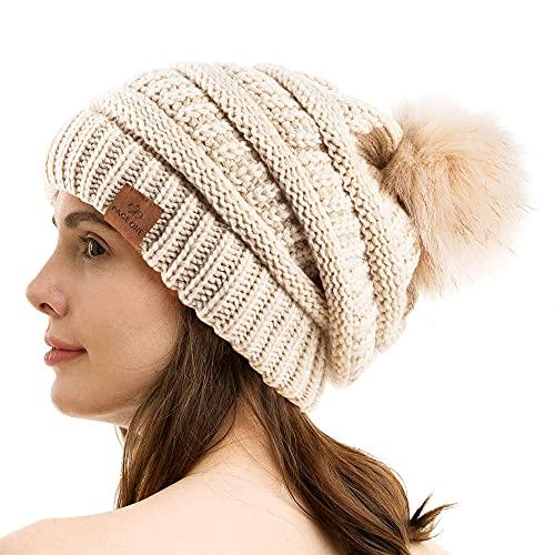 PAGE ONE Womens Fleece Lined Slouchy Beanie Chunky Baggy Hat Fur Pompom Winter Soft Warm Cap Beige