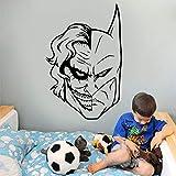 wZUN Diseño de Media Cara Murciélago Payaso Héroe Etiqueta de la Pared Vinilo Decoración Familiar Habitación para niños Habitación para niños 57x87cm