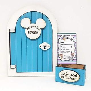 Puerta Ratoncito Pérez que se abre azul,con cajita y carta