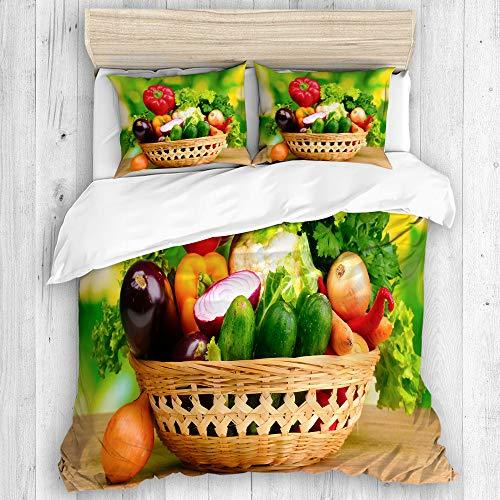 MAYBELOST Bedding Juego de Funda de Edredón,Verduras Frescas en la Cesta en la Mesa de Madera sobre Fondo Verde,Microfibra SIN Relleno,(Cama 140x200 + Almohada)