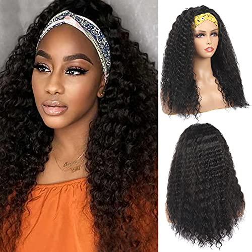 Mebeli Deep Wave HeadBand Wig Headband Wigs for Black Women 24 Inch Glueless Wig Kinky Curly Headband Wig Wet And Wavy Headband Wigs Synthetic Hair, Natural Black 150% Density 24 Inch