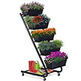 """Vertical Raised Garden Bed with Wheel, 5 Tier 51""""x17.7""""x26"""",Ladder Planter,Vertical Garden Planter Leg,Vertical Growing Planter,Elevated Planter Drainage Planters for Flower Planter Herb Planter Black"""