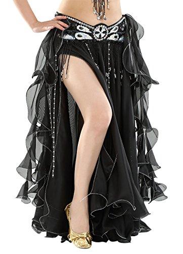 BellyQueen Damen Bauchtanz Kleider Orientalische Kostüme Performance Kleid Outfit Bauchtanzröcke Tanzrock-Schwarz