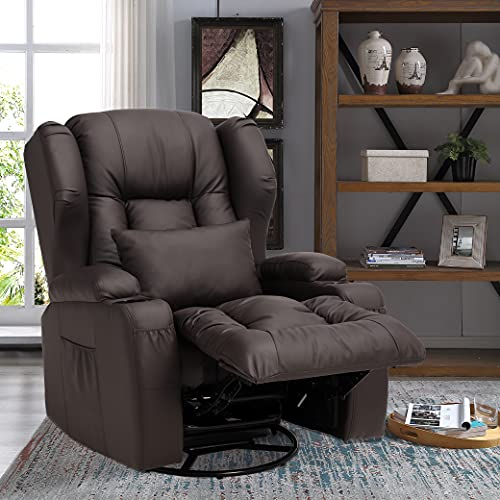 OBBOLLY Manual Leather Recliner Chair- Swivel Rocker Recliner Chair, 360 Degree Swivel Ergonomic Glider Rocking Recliner Chair, Home Theater Seating with Lumbar Pillow, Cup Holder, Side Pocket (Brown)