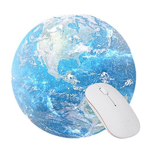 Rond Tapis De Souris,KINGCOO Mousepad Mat Jeu de Mousepad de Motif Circulaire Avec Tapis de Souris en Caoutchouc Non Glissant Pad pour PC Ordinateur (Terre)