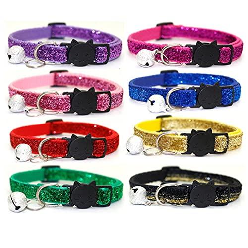 Yililay Ajustable Collares para Gatos con Campanas Collar rápida de Seguridad Hebilla de liberación Breakaway del Animal doméstico para el Gato del Gatito de los Perros de Perrito 8PCS