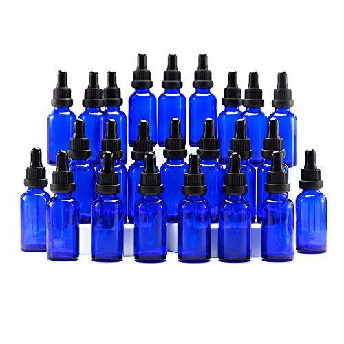 Yizhao Azul Frasco Cuentagotas Cristal 30ml, Botellas Cuentagotas con [Pipeta Cuentagotas Cristal], para Aceite Esencial, Masaje,Fragancia, Aromaterapia, Laboratorio - 24Pcs
