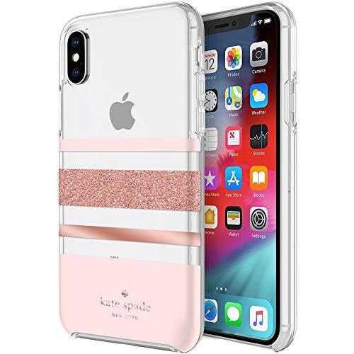 Kate Spade New York Flexible Hardshell Case for iPhone XR – Charlotte Stripe Rose Gold Foil