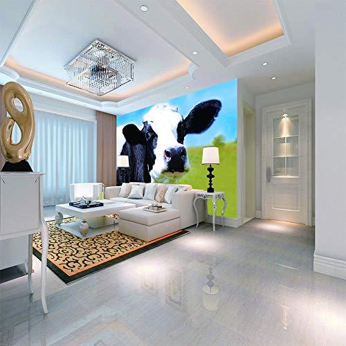 Fotobehang Non-Woven Leuke Koe Foto Behang 3D Muurschildering Non-Woven Moderne Wandposter Foto Home Decoratie voor Slaapkamer Office Keuken Zwart Vrijdag 350cmx250cm