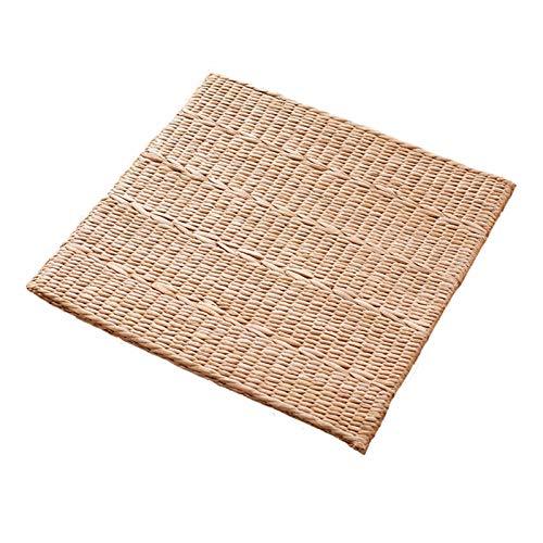LTINN Tejido de Paja Hecho a Mano, cojín de Tatami, cojín de meditación y adoración, tapete Cuadrado, para Ventana salediza, Brisa Natural de Hierba Tejida para el hogar