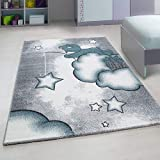 Bravich Kids Nursery Rug Large Blue/Grey/White Baby Bear & Stars Design Pastel Colours Super Soft Thick Anti-Allergic Children's Bedroom Nursery Area Rug 120x170 cm (4ft x 5ft6)