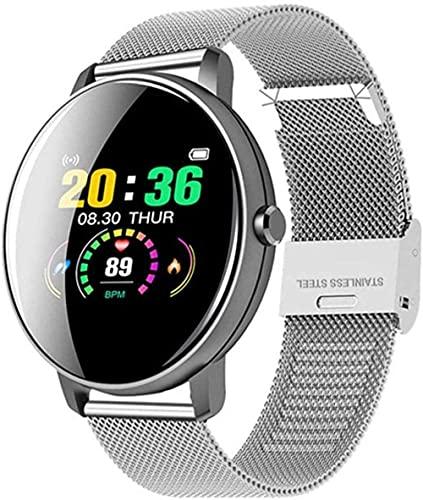 Reloj inteligente para mujer, con pantalla táctil, redondo, monitor de frecuencia cardíaca, presión arterial, reloj inteligente para Apple Android, Xiaomi Phone PK IWO (color: oro), acero plateado