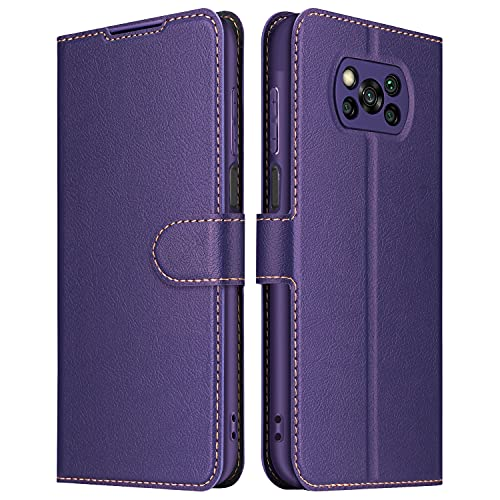 ELESNOW Hülle für Xiaomi Poco X3 NFC/Poco X3 Pro, Premium Leder Klappbar Wallet Schutzhülle Tasche Handyhülle mit [Magnetisch, Kartenfach, Standfunktion] für Xiaomi Poco X3 NFC/Poco X3 Pro (Lila)