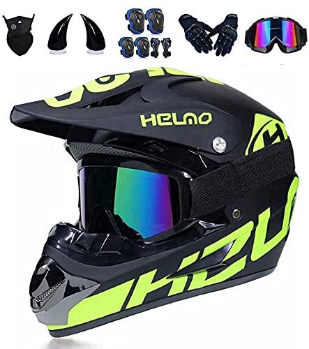 Casco de moto infantil con cuernos de demonio, casco de motocross para...