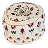 Yair Emanuel Hand Embroidered Hat | Bucharian Kippah | Floral Flower Design | White Background | HME-1W