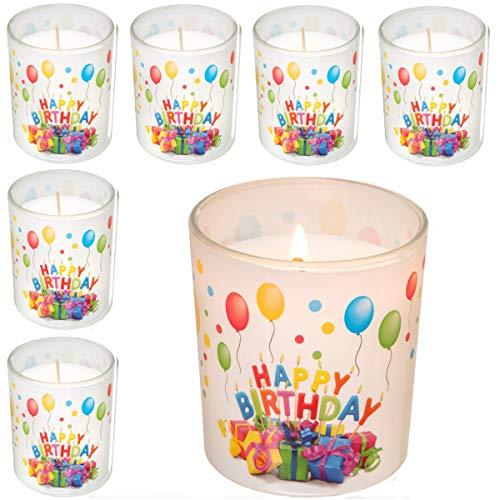Smart Planet® 6-delige set Happy Birthday kaars in glas - verjaardagskaars mooi geschenk motief cadeau idee voor verjaardag - deco kaarsen 6 stuks