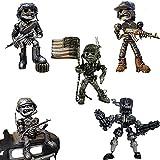Piston Head Army Statue - Recycling/Scrap Metal Standing Warrior Sculpture Handmade-Piston Man, Creative Wars Action Resin Figure Statue (5-Piece Set)