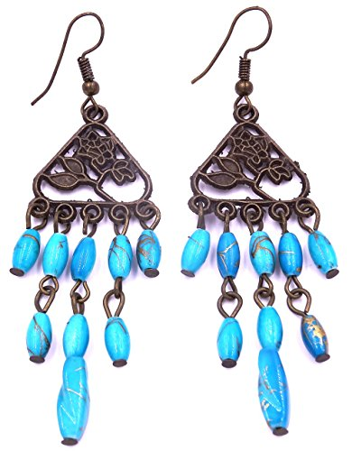 Générique Boucles d'oreilles Ethnique Bijoux Bohème Chic Pendantes Métal Inde Indiennes Artisanal Bleu Turquoise