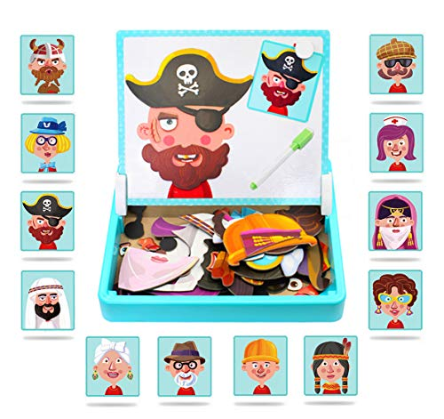ZSFLZS Magnetic Puzzles Face Dress Up Travel Game Double Side Preschool Educational Learning Toy for Kids