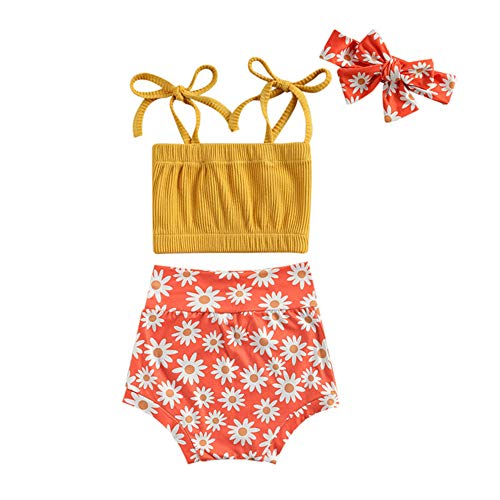 3PCS Infant Baby Girl Clothes Summer Outfit Ribbed Halter Tube Top and Floral Shorts Cute Clothing Sets (A-Dark Yellow Tops & Daisy Shorts,6-12 Months)