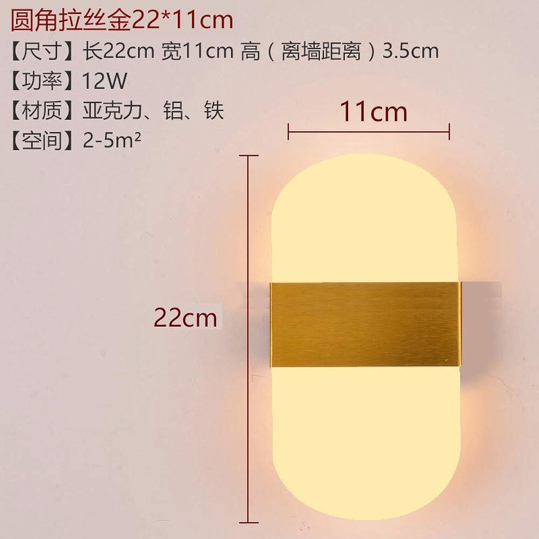 Fangfang908 Led-Wandleuchte Ganglichter Treppenlicht Moderne Minimalistische Schlafzimmer Wandlampe Abgerundet Gebürstetem Gold Abschnitt -12W, 22Cm  11Cm