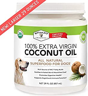 Stuart Pet Supply Coconut Oil for Dogs | Certified Organic Extra Virgin Superfood Supplement | Anti Itch & Hot Spot Treatment | For Dry Skin on Elbows & Nose | Natural Digestive Immune Support 16/29oz