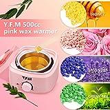 Y.F.M Wachswärmer Wachs Haarentfernung, Wachsmaschine Set Wax Warmer Heater Waxing Kit Wachserhitzer, Wax Enthaarung Set mit 20* Holzspateln, 10* Anti-Fleckenring, 4 * 100g Wachsbohne Pink - 2