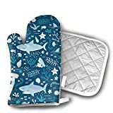 Hammerhead Sharks Oven Mitts and Potholders (2-Piece Sets) - Kitchen Set with Cotton Heat Resistant,Oven Gloves for BBQ Cooking Baking Grilling