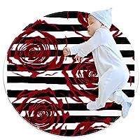 エリアラグ軽量 バラの黒と白の背景 フロアマットソフトカーペット直径27.6インチホームリビングダイニングルームベッドルーム