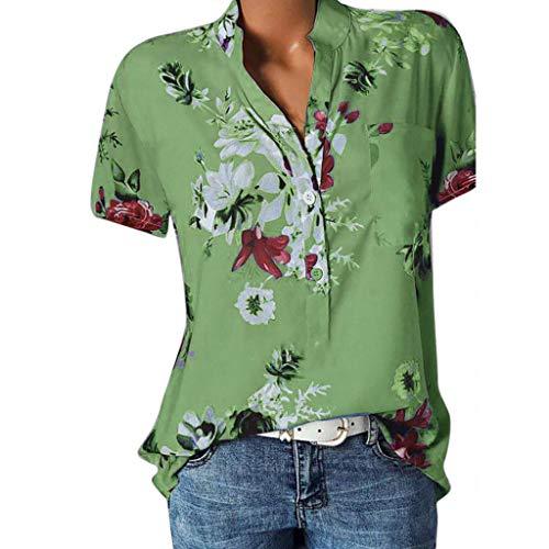 Große Größe Blusen Damen Elegante V-Ausschnitt Blumen Bluse Kurzarmshirt Sommer Casual Lose Tunika Top Hemd mit Knopfleiste Blusenshirt Tasche T-Shirt Oberteile (Grün, EUR-38/CN-L)