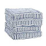 Nicola Spring Dining Chair Cushion Seat Pad Square Padded French Mattress - Blue Stripe - Pack of 4