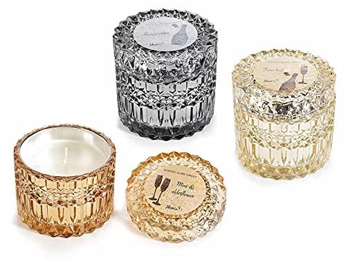 Gruppo Maruccia Velas de ambiente perfumadas en tarro de cristal, juego de 3 velas para la casa, idea regalo