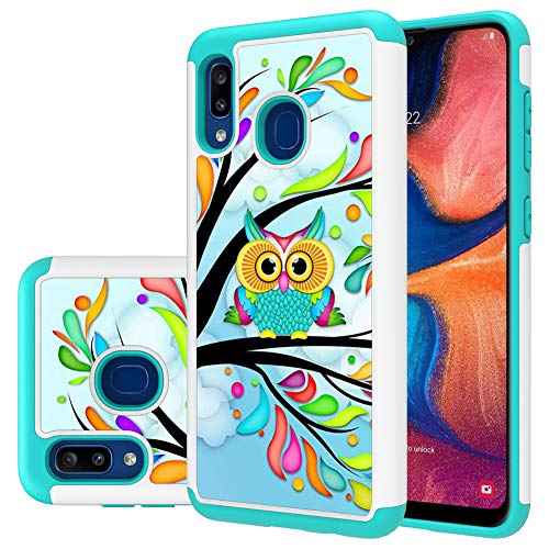 Galaxy A20 case,Samsung A20 case,MAIKEZI Hybrid Dual Layer TPU Plastic Armor Defender Phone Case Cover for Samsung Galaxy A20/A30/M10s (Armor Green Owl)