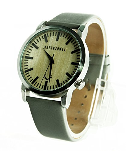 NATURJUWEL Design - Reloj de Pulsera Hecha a Mano de Madera Natural Especiales; Colores Beige...