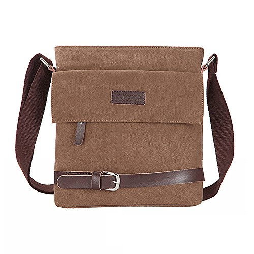 fitTek? Messenger Bag Borsa a Spalla Mano da Uomo in PU Cuoio Kakhi Hot [Assortito]